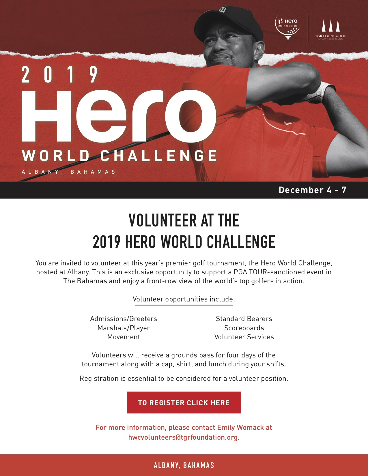 Volunteer Opportunity at the Hero World Challenge at Albany