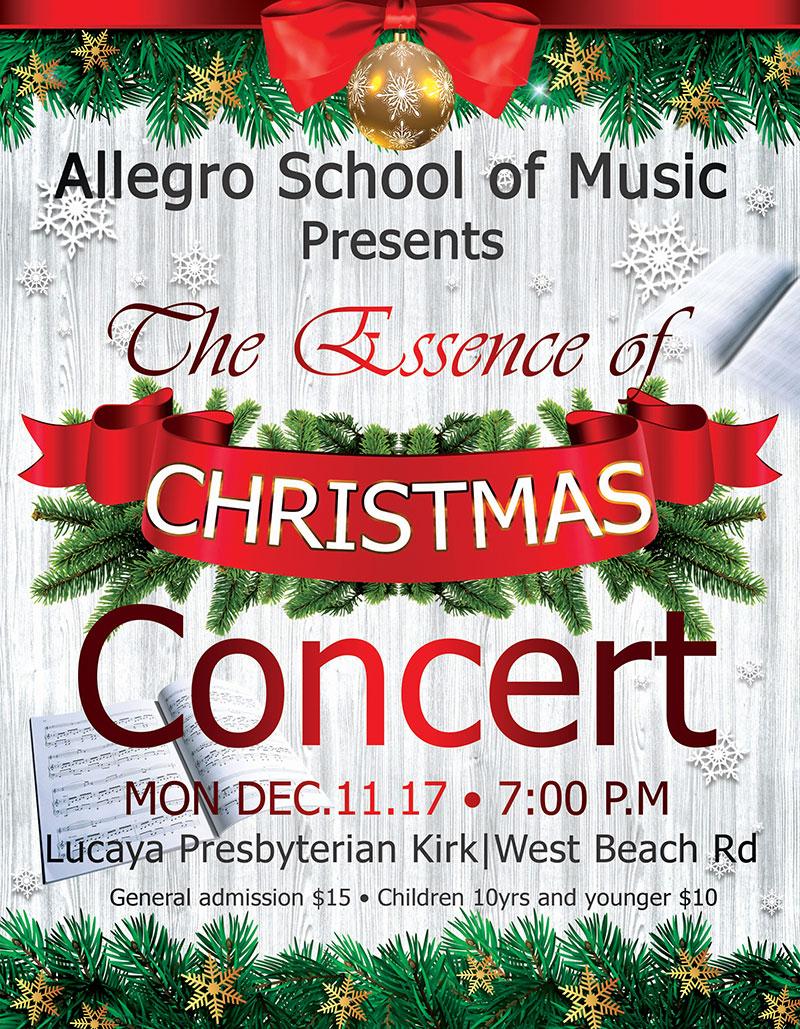 Allegro School of Music Presents: The Essence of Christmas | Mon. Dec.11, 2017