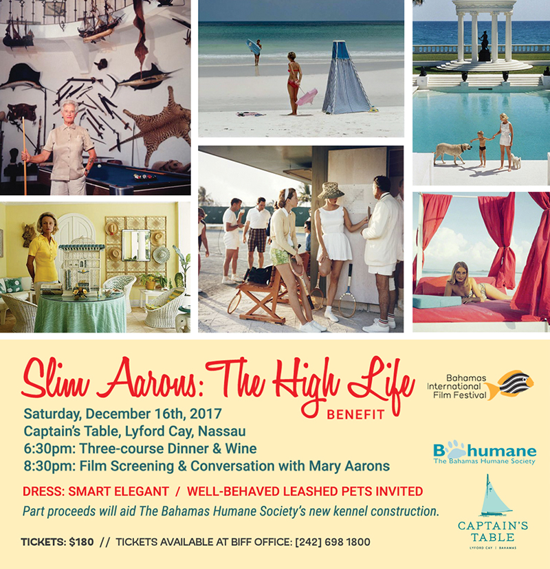 Slim Aarons: The High Life' at the Captain's Table on Saturday, December 16th at 6:30 p.m.