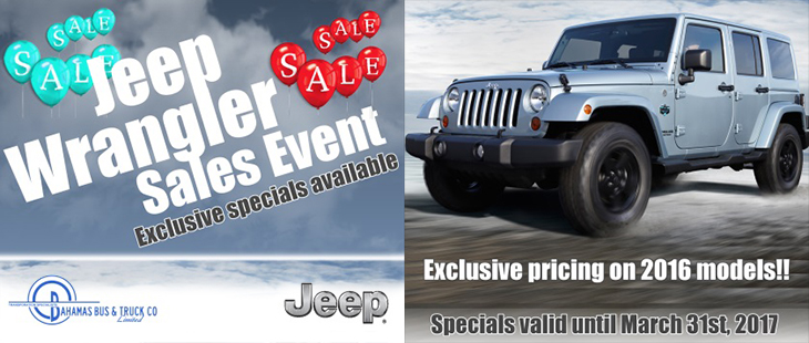 Jeep Wrangler Sales Event at Bahamas Bus & Truck