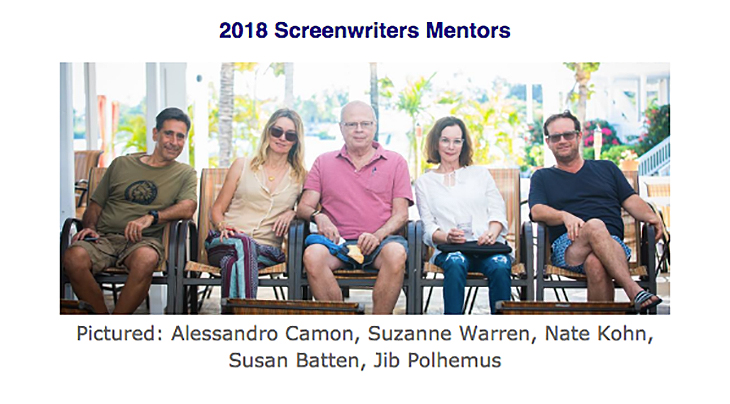 2018 Screenwriters Mentors   Pictured: Alessandro Camon, Suzanne Warren, Nate Kohn, Susan Batten, Jib Polhemus