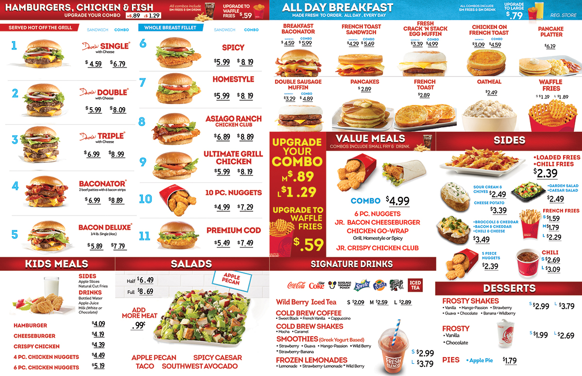 Wendy's Lunch Menu