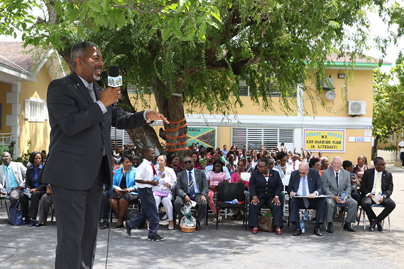Minister of Transport and Local Government, the Hon. Frankie Campbell speaking during a special assembly at Sandilands Primary School honouring former student, Captain Dwain Hutchinson. The assembly was one of the many events held during Maritime Week (May 6-12).  (BIS Photo/Raymond A. Bethel, Sr.)