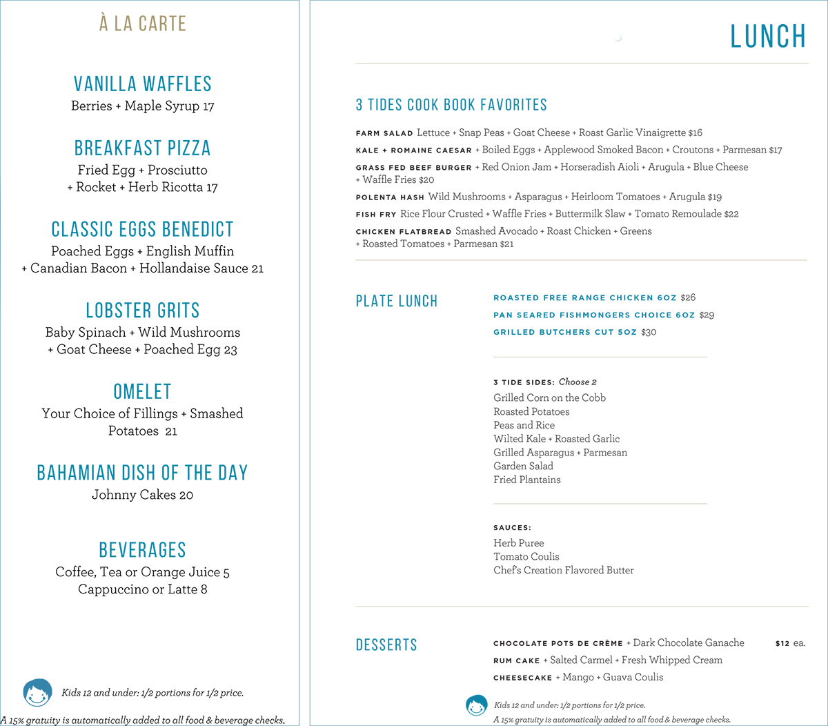 3 Tides 3 Tides Breakfast and Lunch Menu