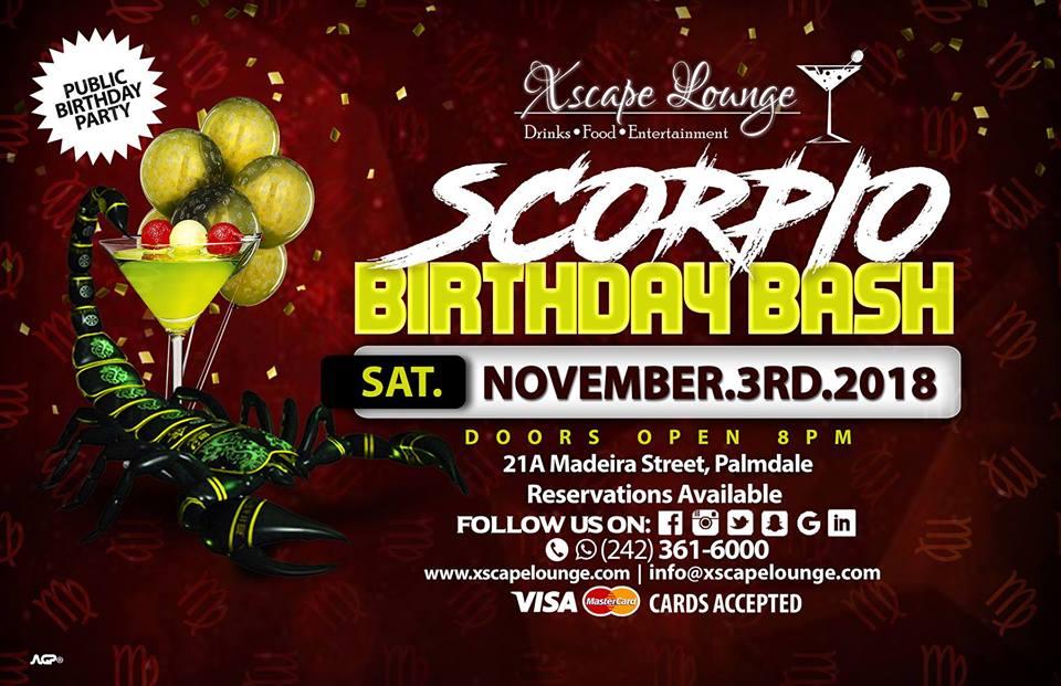 Scorpio Birthday Bash   Xscape Lounge