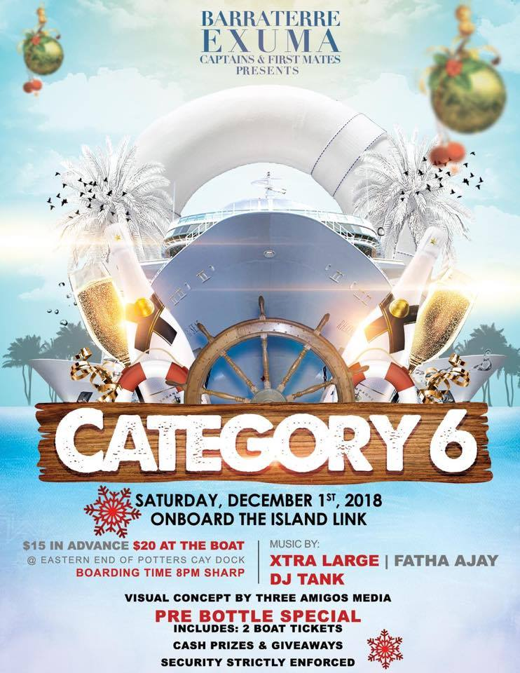 Barraterre Captains & Firstmates presents CATEGORY 6 Boat Cruise