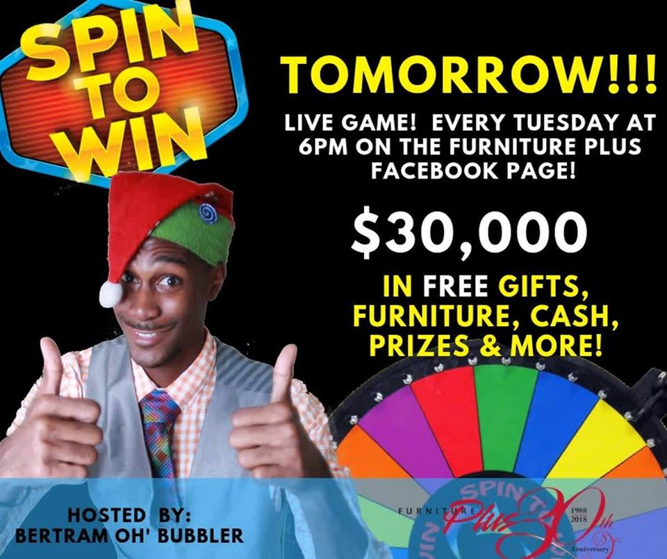 Furniture Plus 30K Spin To Win Promotion!