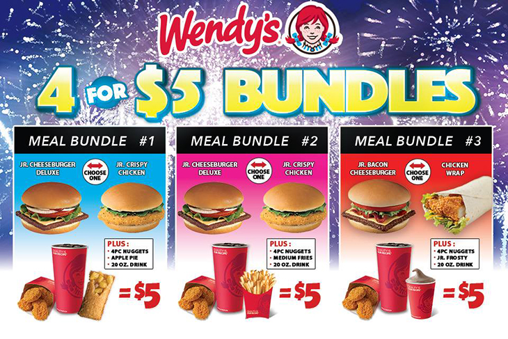 NEW 4 for $5 Bundles at Wendys!