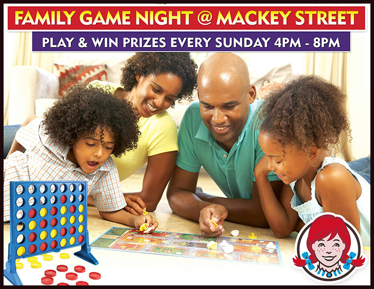 Join the fun @ Wendy's Mackey Street & WIN!<br /> Every Sunday from 4-8pm. Games for the entire family.