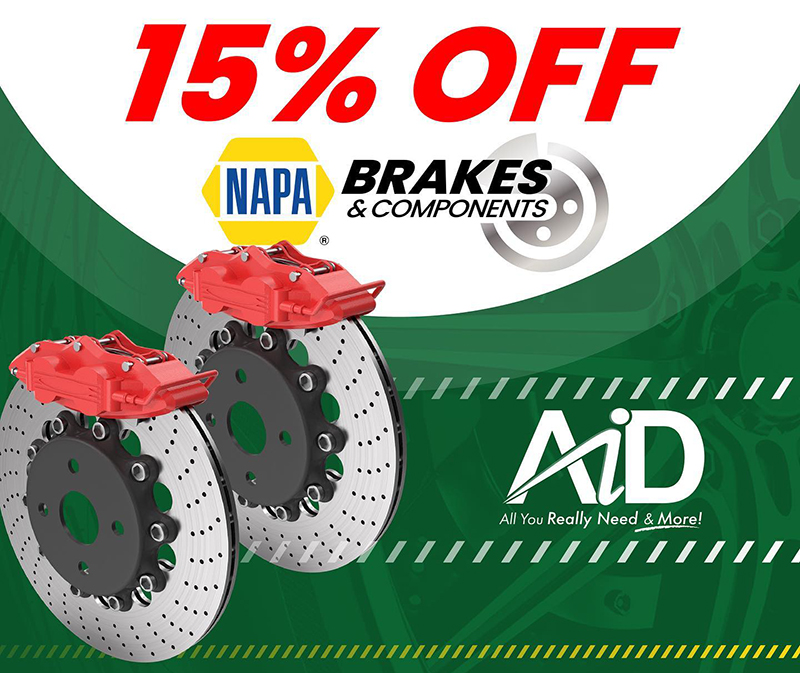 Get 15% Off your NAPA Brakes & Components all Month At A.I.D.