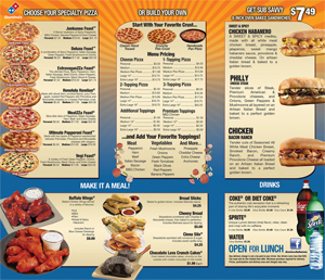 Domino's Pizza Full Menu