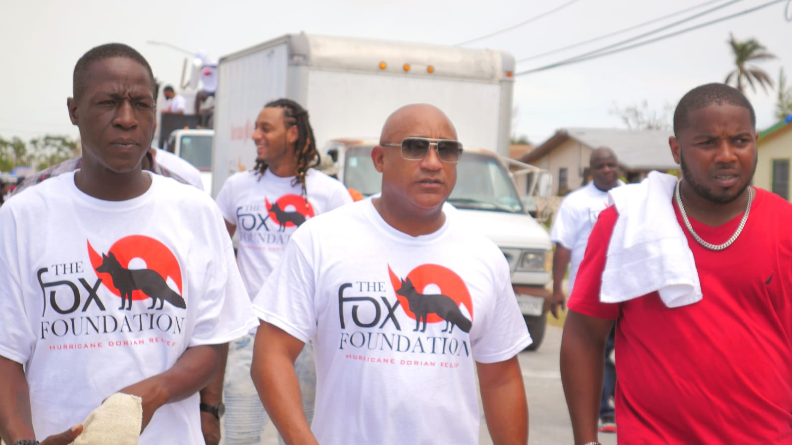 Adrian Fox with members of The Fox Foundation bringing aid to the victims of Hurricane Dorian in Grand Bahama