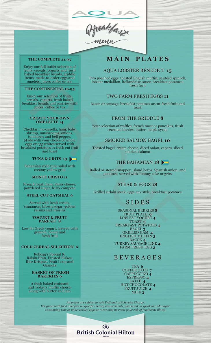 Aqua Breakfast Menu