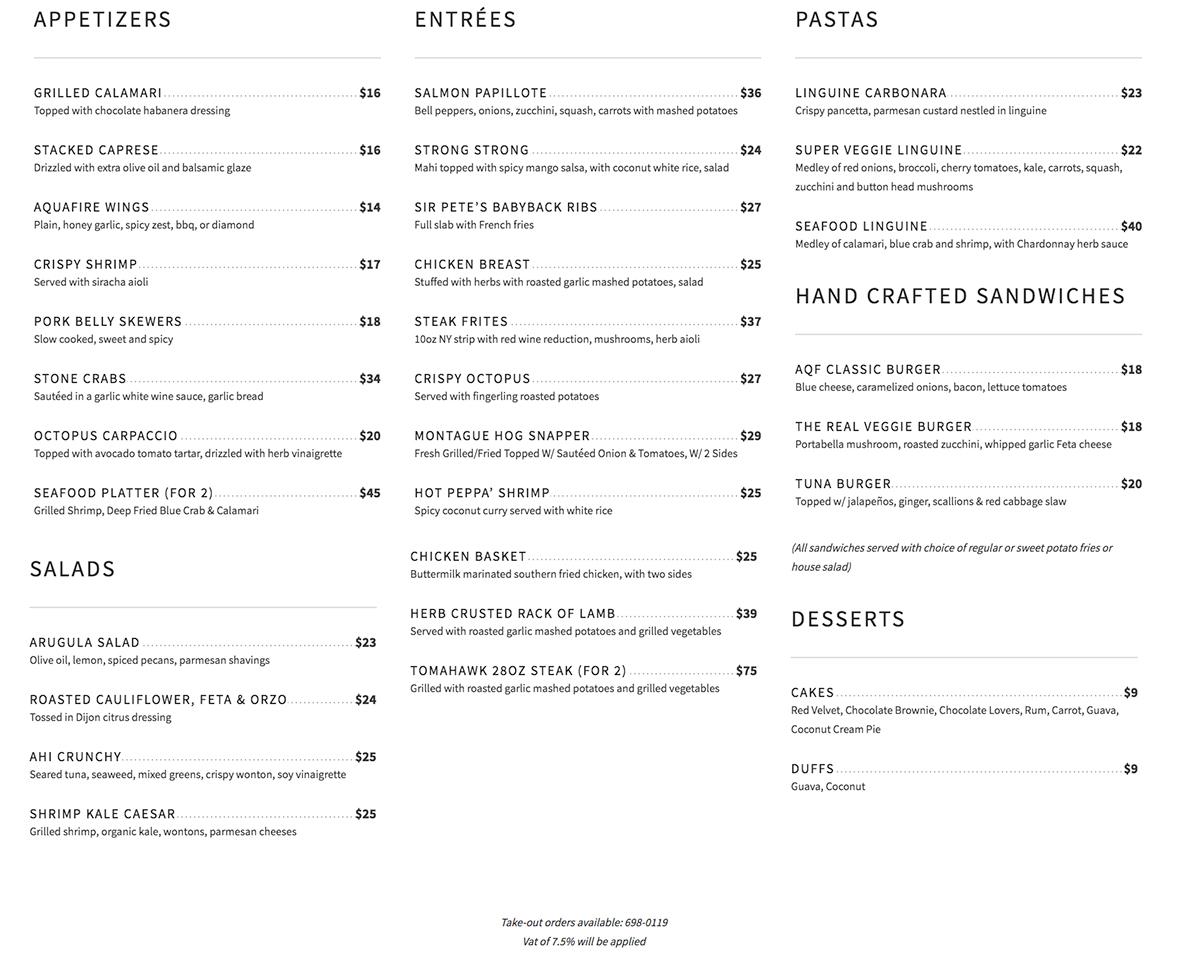 AQUAFIRE Bar & Grill Menu