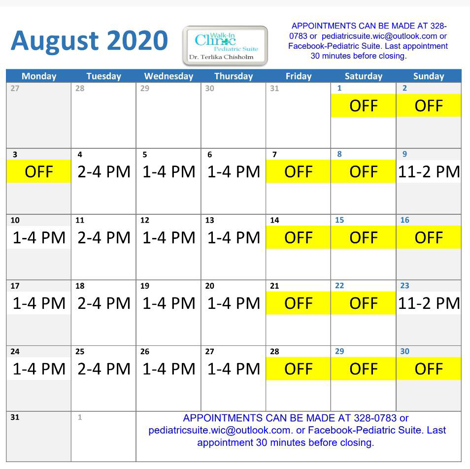 Dr. Chisholm, Pediatrician August 2020 Schedule