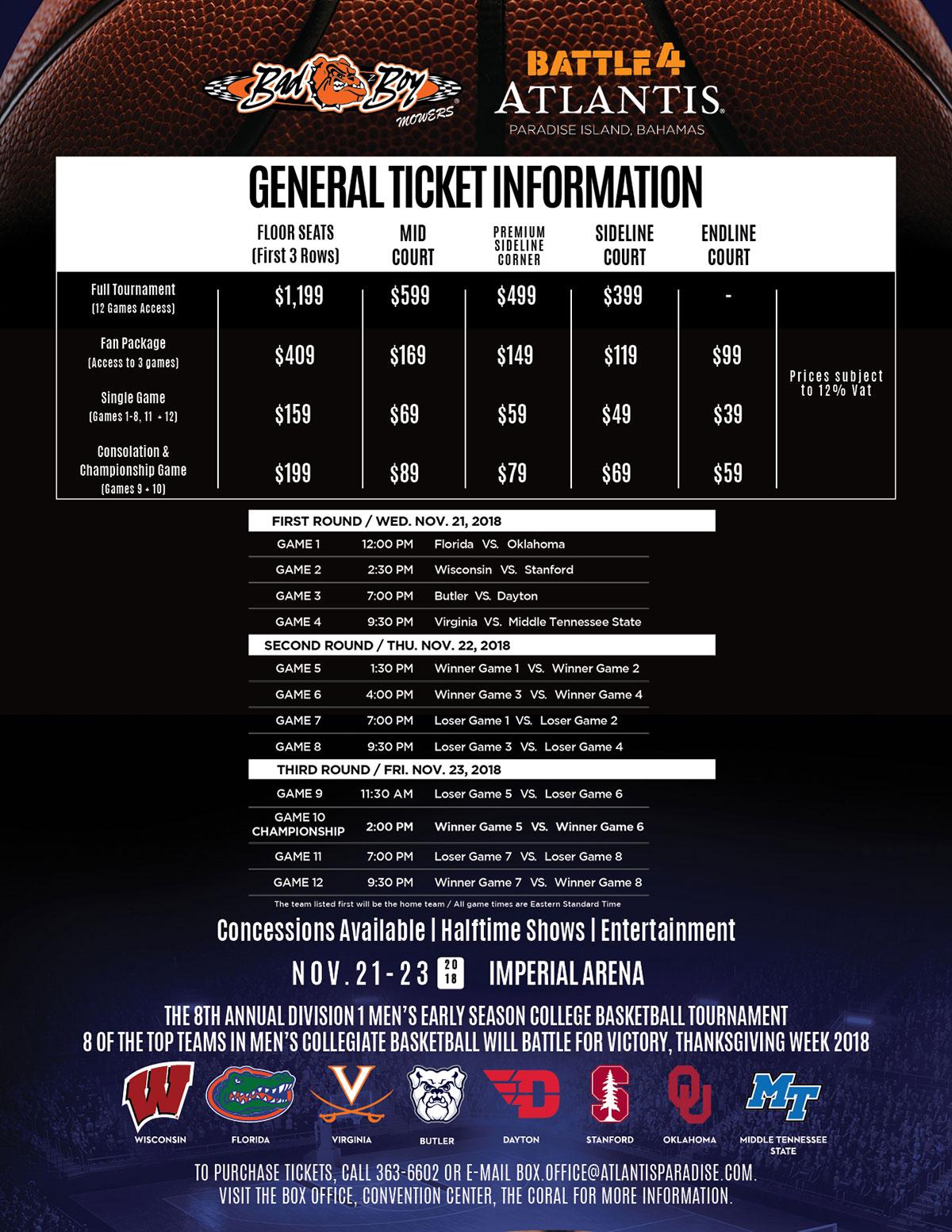 Battle 4 Atlantis General Ticket Information