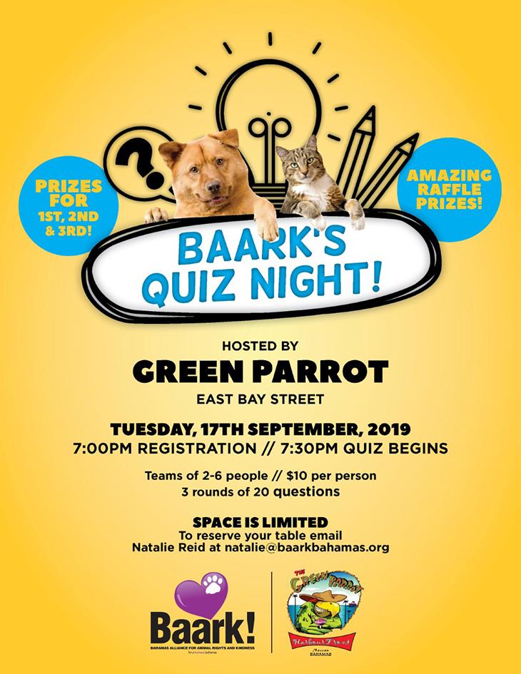 BAARK! Trivia night at Green Parrot
