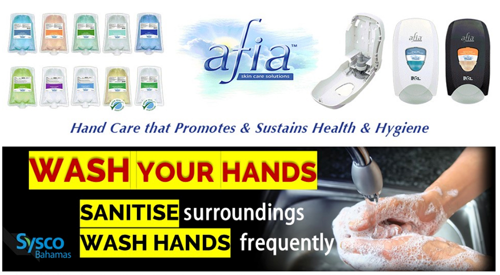 Sysco Bahamas Wash and Sanitize Your Hands!