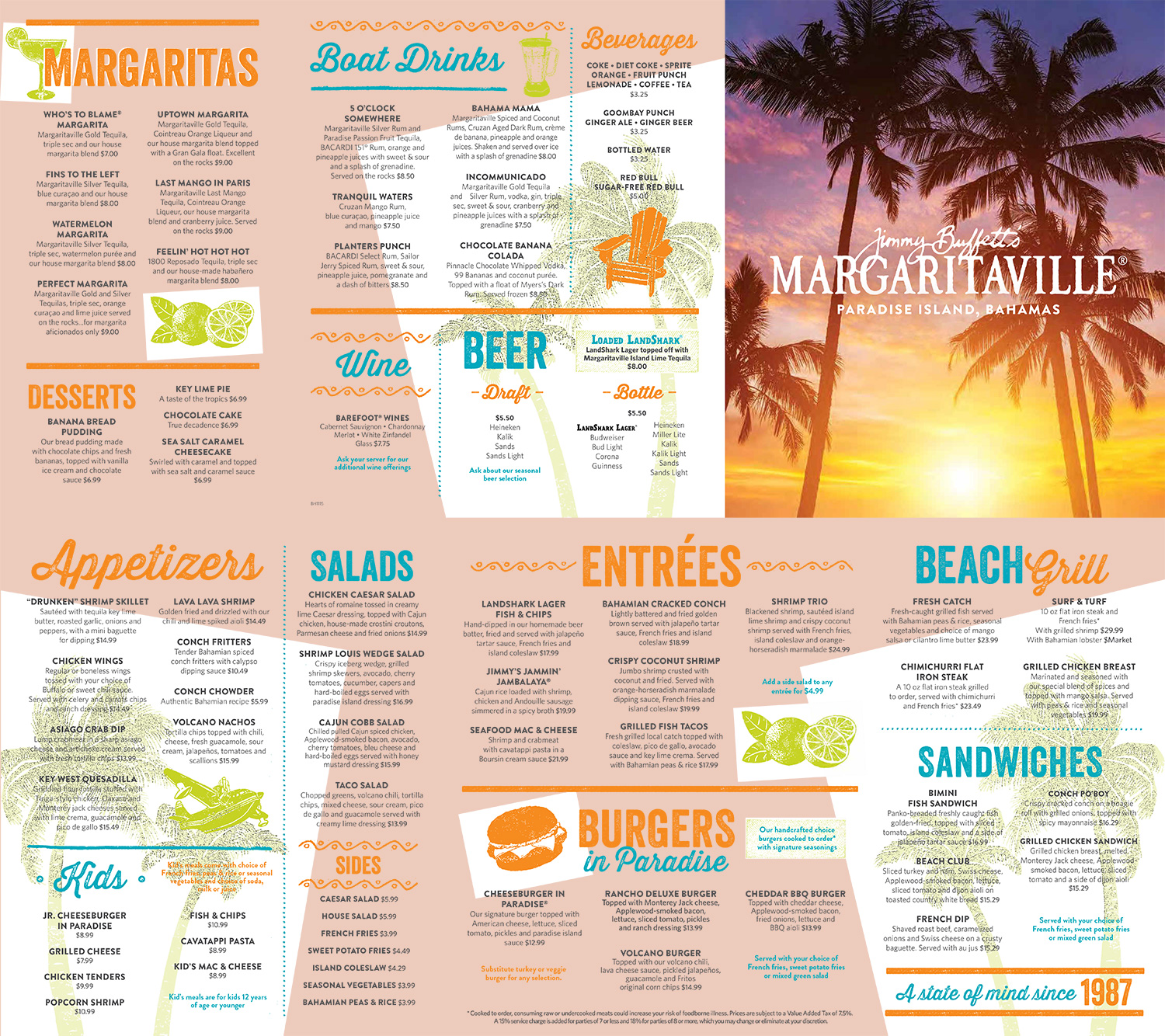 Jimmy Buffetts Margaritaville Bahamas Menu