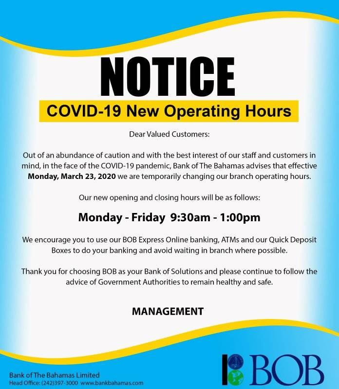 Please note our new operating hours which become effective Monday, March 23, 2020