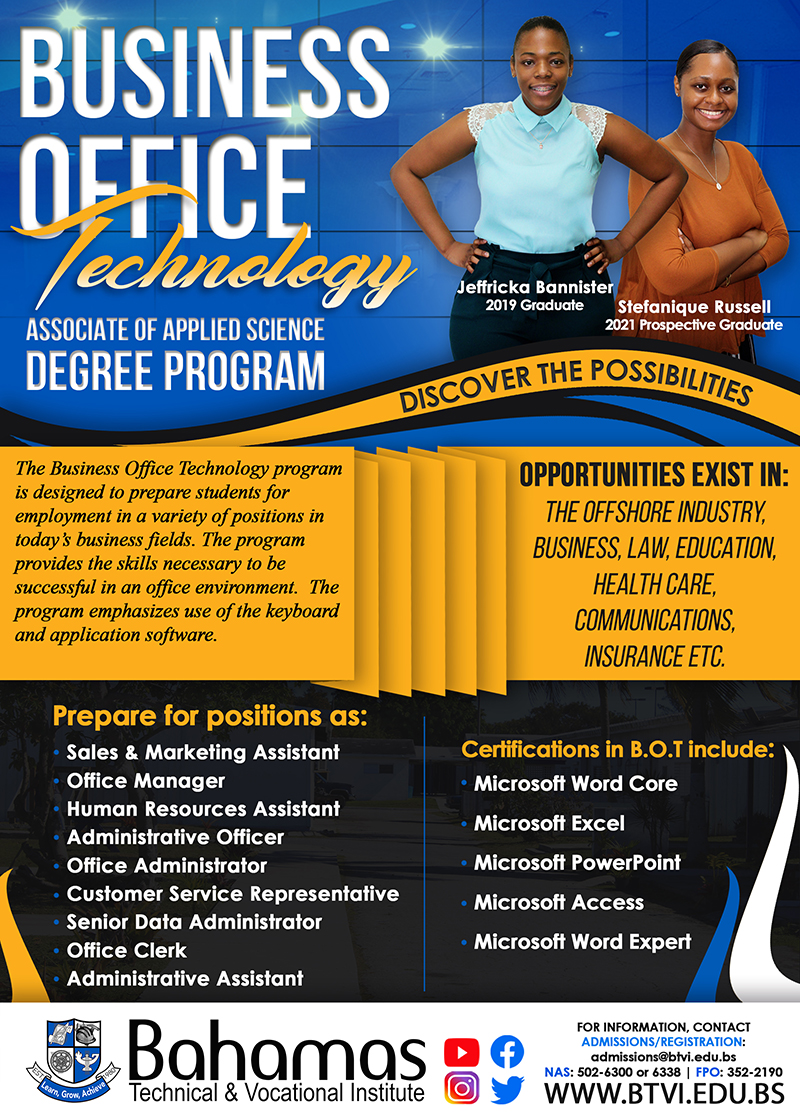 Business Office Technology at Bahamas Technical & Vocational Institute