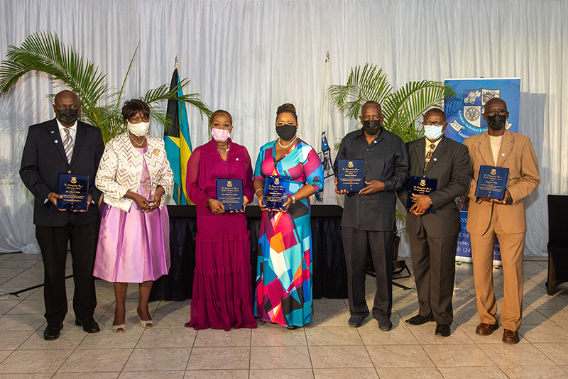 Ten outstanding alumni of the Bahamas Technical and Vocational Institute (BTVI) were recently recognized during its second annual RBC Race for the Kids Runway to 5K Awards. From left to right are John S. Bain (1984); Ann Jerusha Wallace, who collected a posthumous award on behalf of her brother, former BTVI Fashion instructor, Percy Wallace; Dr. Dellarese Taylor (1985 and current BTVI Cosmetology instructor); Christina Gilbert (1996 and 2021); Sidney Sinclair (1984); Bernard Rolle (1984) and Kenton Roker (1992 and current BTVI Chair of Construction and Mechanical Trades, Grand Bahama). Missing are Kenneth Russell (1973); Dr. Zelrona Mackey (1979) and Ismella Davis-Delancy (1983).