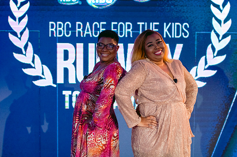 Hosts for the Bahamas Technical and Vocational Institute (BTVI)'s second annual RBC Race for the Kids Runway to 5K Awards were the vivacious BTVI Associate Vice President of Fund Development, Alicia Thompson (l) and 2021 alum, Kadren Carey.