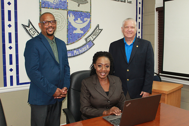 The Bahamas Technical and Vocational Institute (BTVI)'s Dean of Construction and Workforce Development, Alexander Darville (l) and Dean of Academic Affairs, Dr. Pleshette McPhee, are two members of the team who play strategic roles in curricula development and advancing workforce development skills, respectively. The team at BTVI is set to receive support from the Canadian-based Commonwealth of Learning for the training of local youth workers.