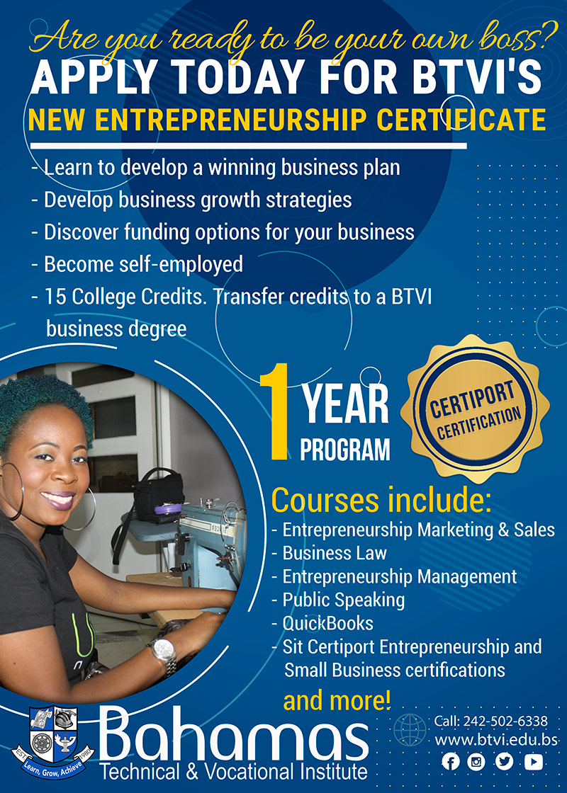 New Entrepreneurship Certificate at Bahamas Technical & Vocational Institute