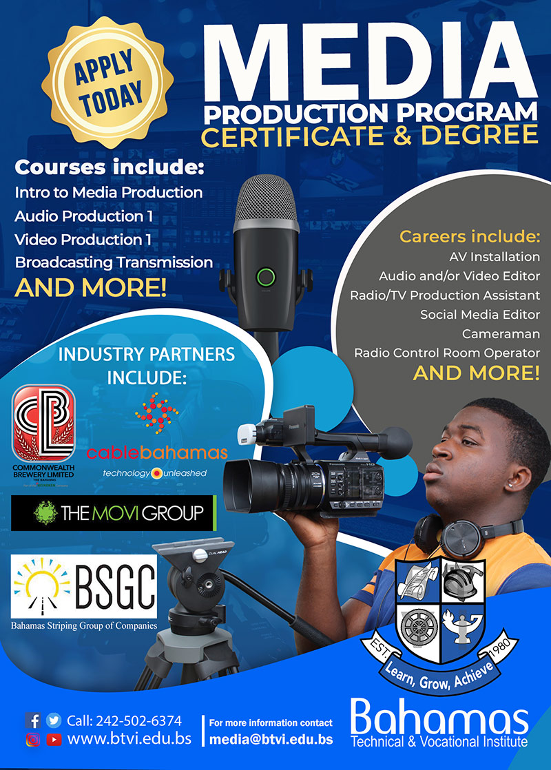 Media Production Program Certificate & Degree at Bahamas Technical & Vocational Institute