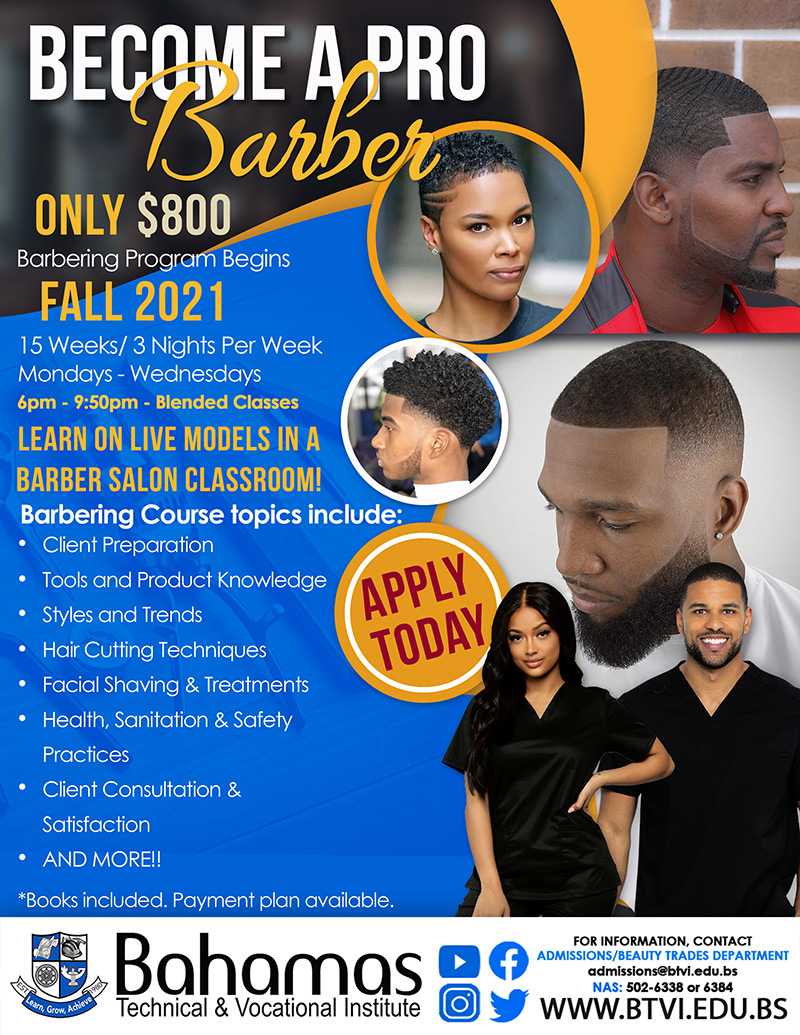 Become A Barber at Bahamas Technical & Vocational Institute (BTVI)