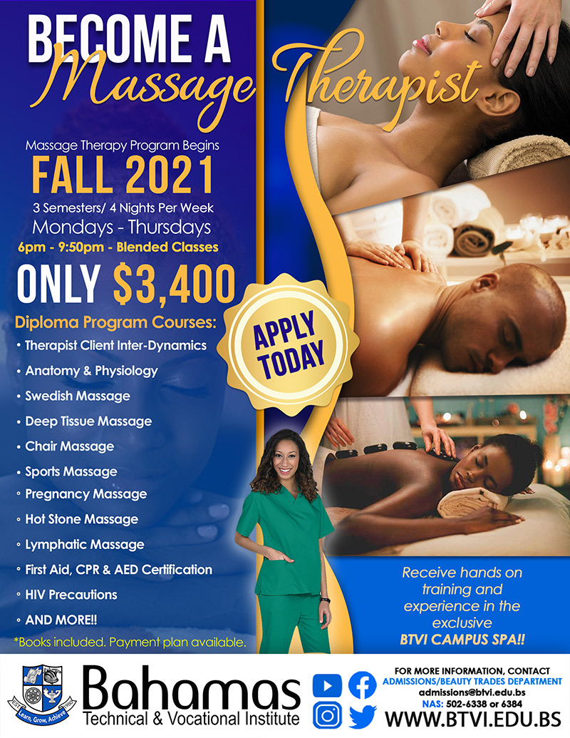 Become A Massage Therapist at Bahamas Technical & Vocational Institute (BTVI)