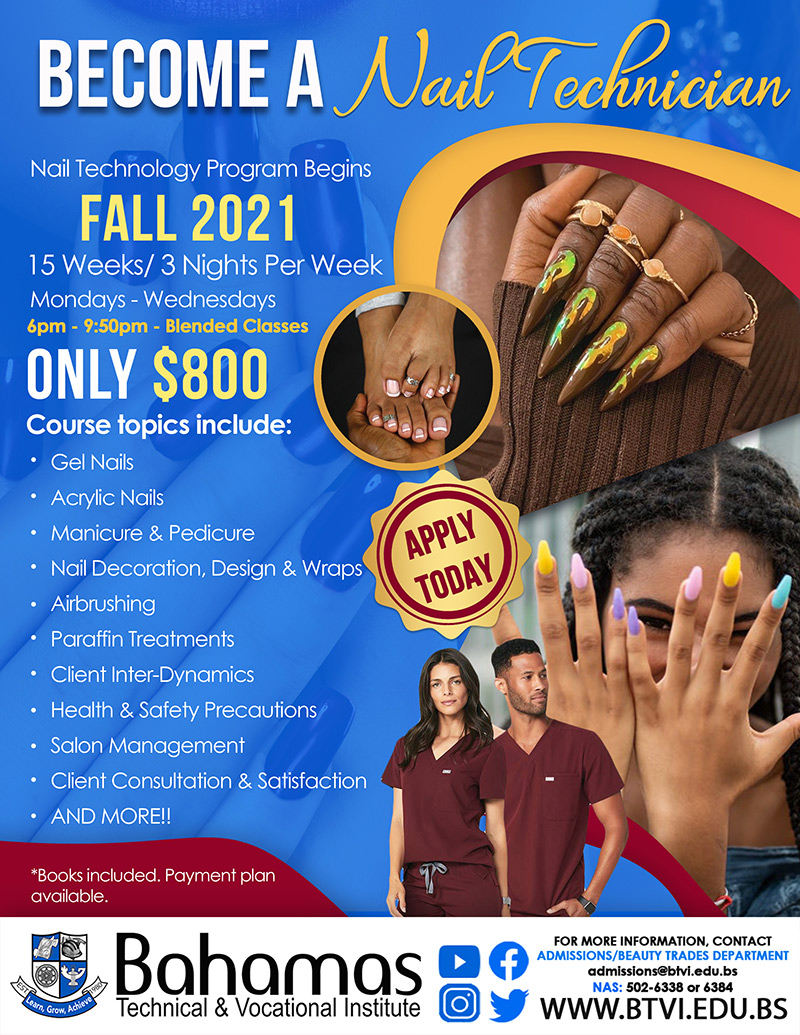 Become A Nail Tech at Bahamas Technical & Vocational Institute (BTVI)