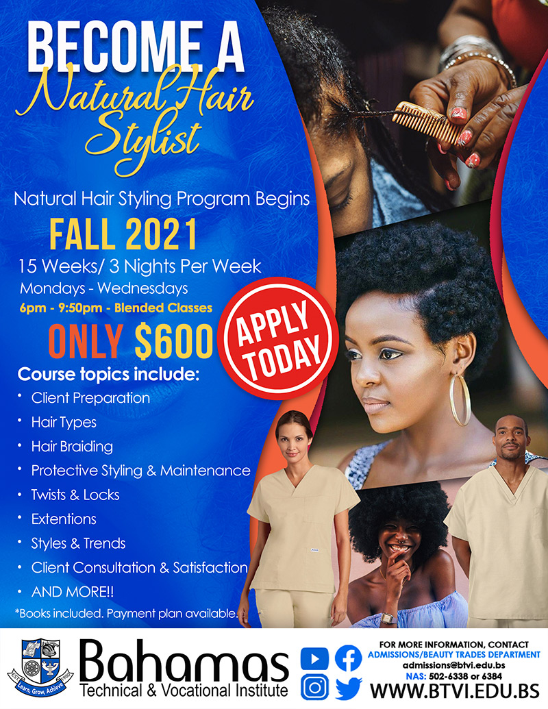Become A Natural Hair Stylist at Bahamas Technical & Vocational Institute (BTVI)