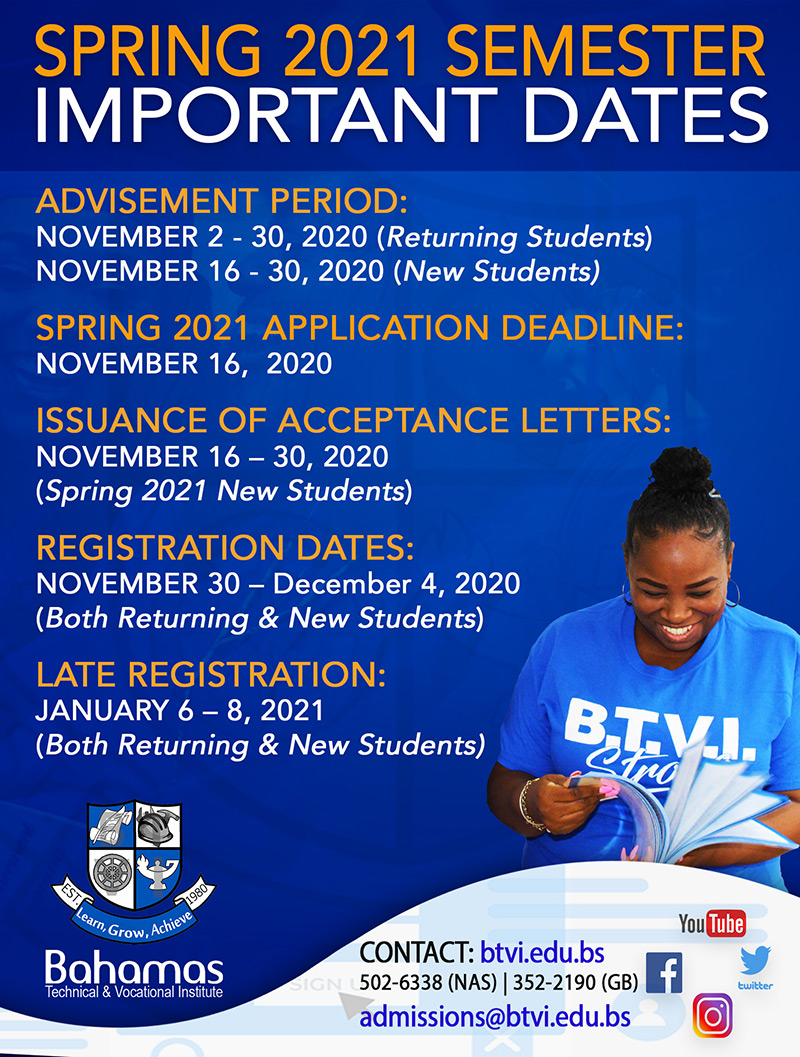 Spring 2021 Semester Important Dates at Bahamas Technical & Vocational Institute (BTVI)