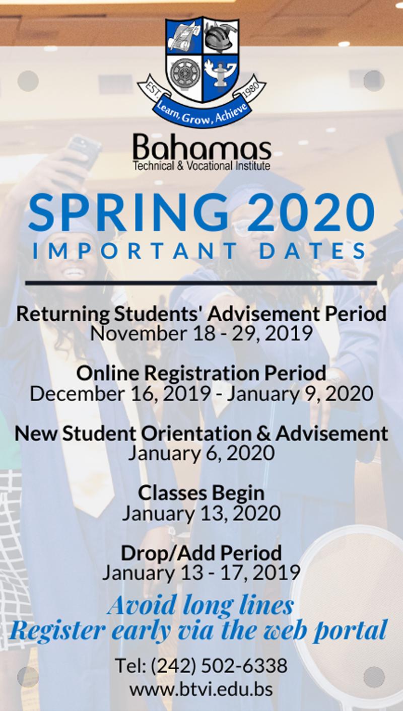 BTVI Spring 2020 Important Dates