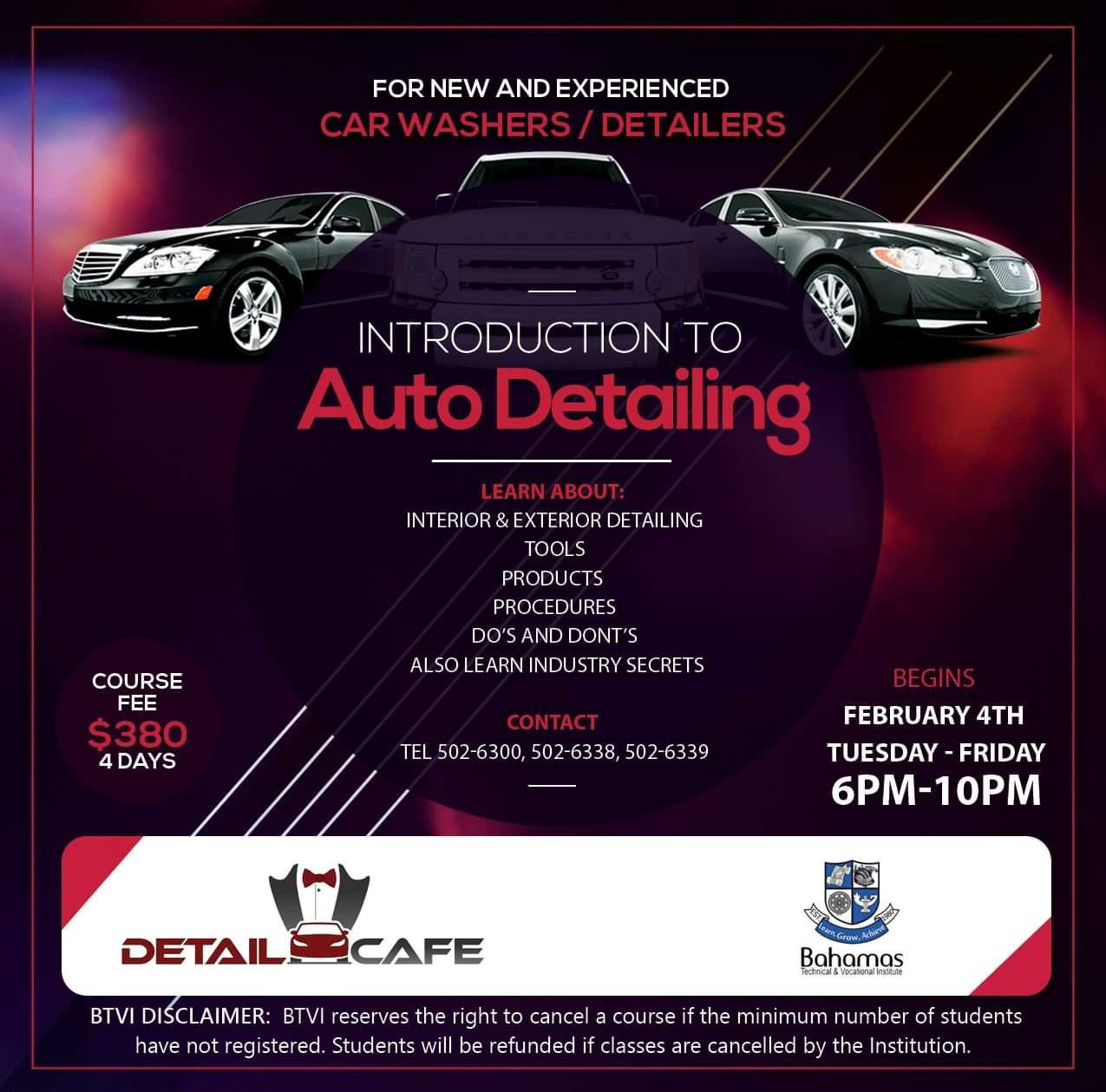 Bahamas Technical & Vocational Institute (BTVI) Auto Detailing Course