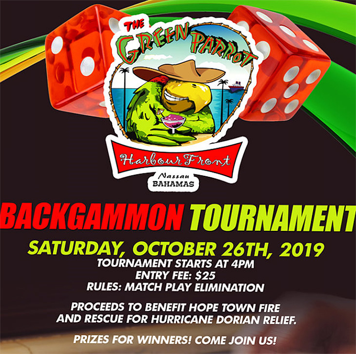 Sat, Oct 26  |  Green Parrot East Bay Street Backgammon Tournament