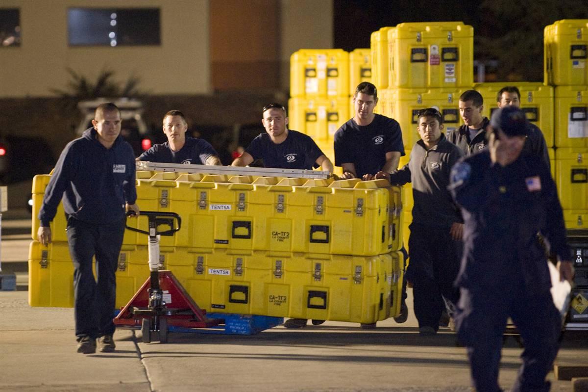 Firemen aid Haiti Earthquake disaster
