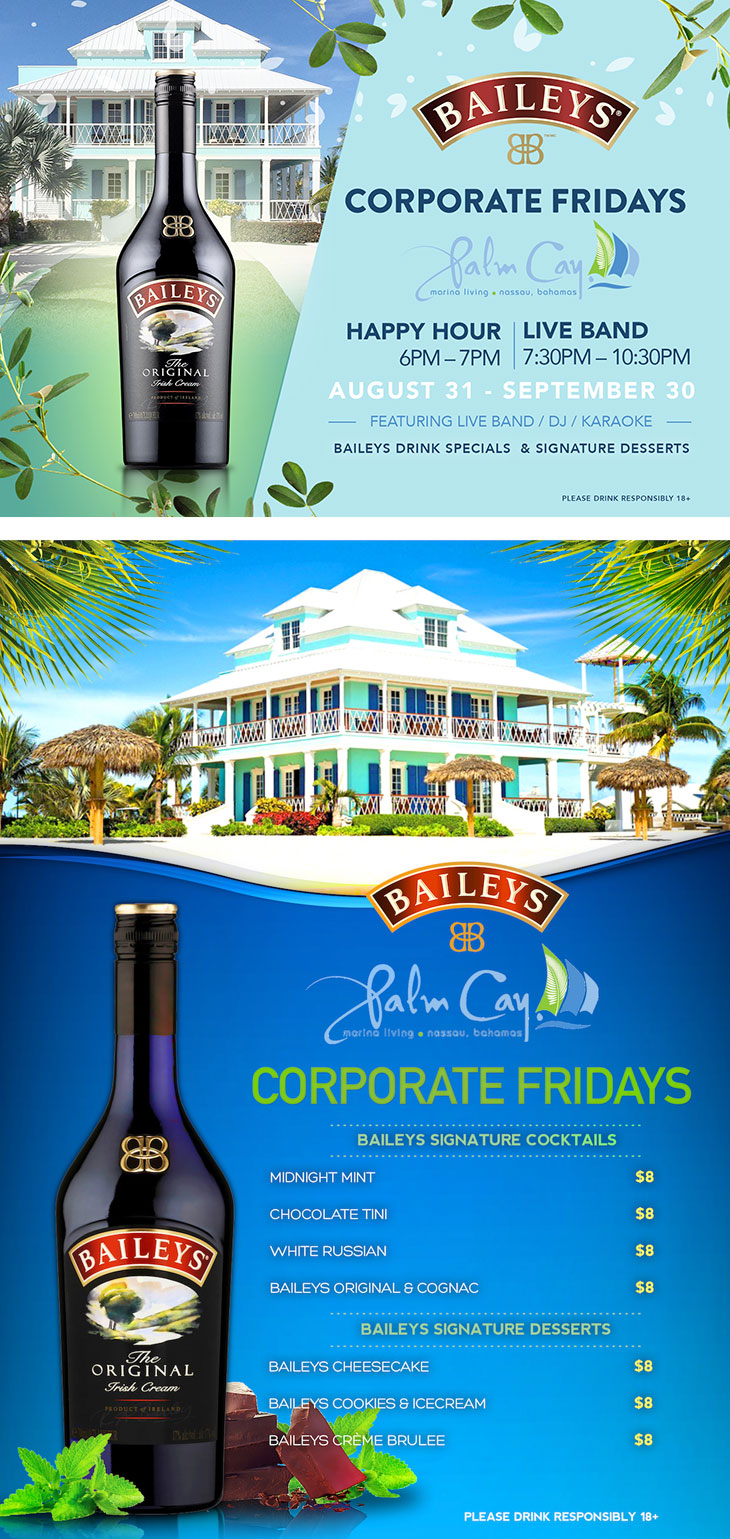 Commonwealth Brewery Limited | Baileys & Palm Cay invites you to Corporate Fridays every Friday starting August 31 to September 30.