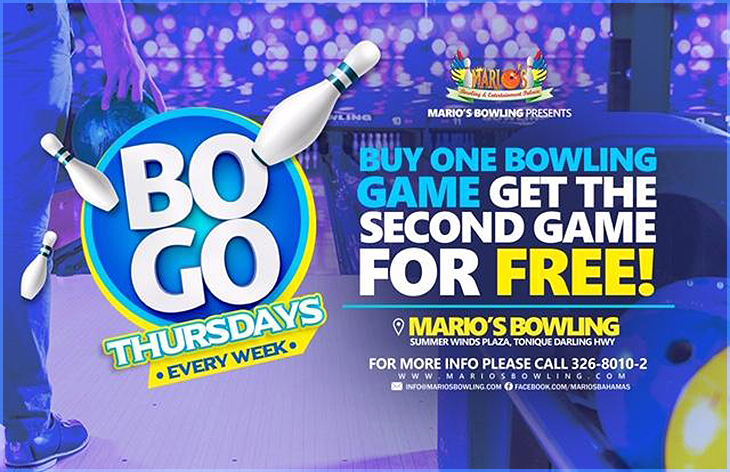 BOGO THURSDAYS @ Marios Bowling and Entertainment Palace