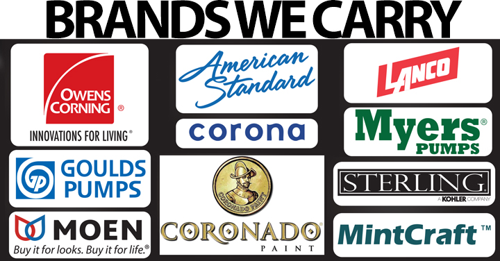 Brands We Carry Tops Lumber & Plumbing Supplies