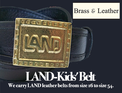 LAND At The Brass & Leather Shops. We carry LAND leather belts from size 16 to size 54