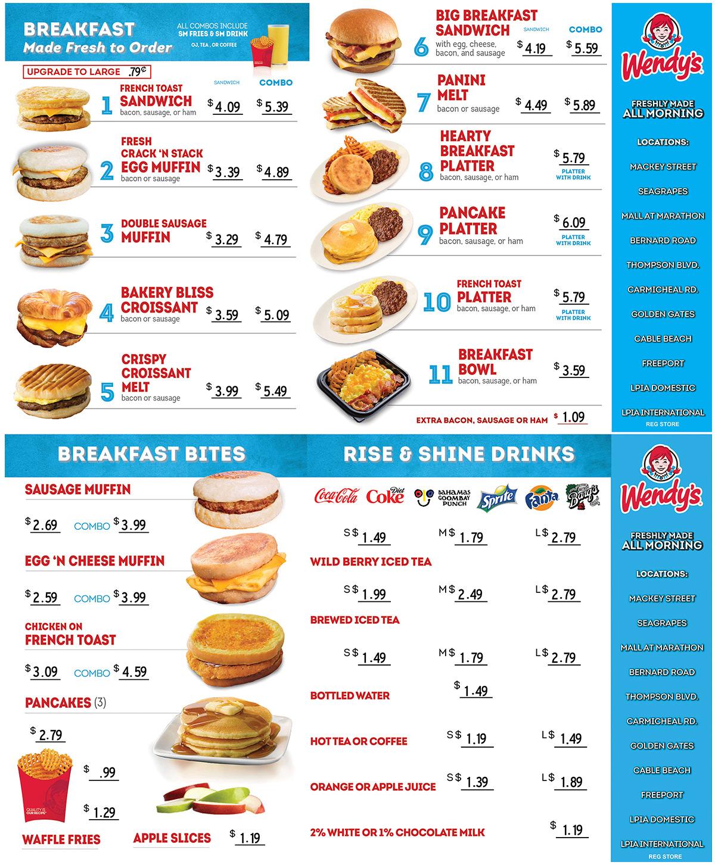 Wendy's Breakfast Menu