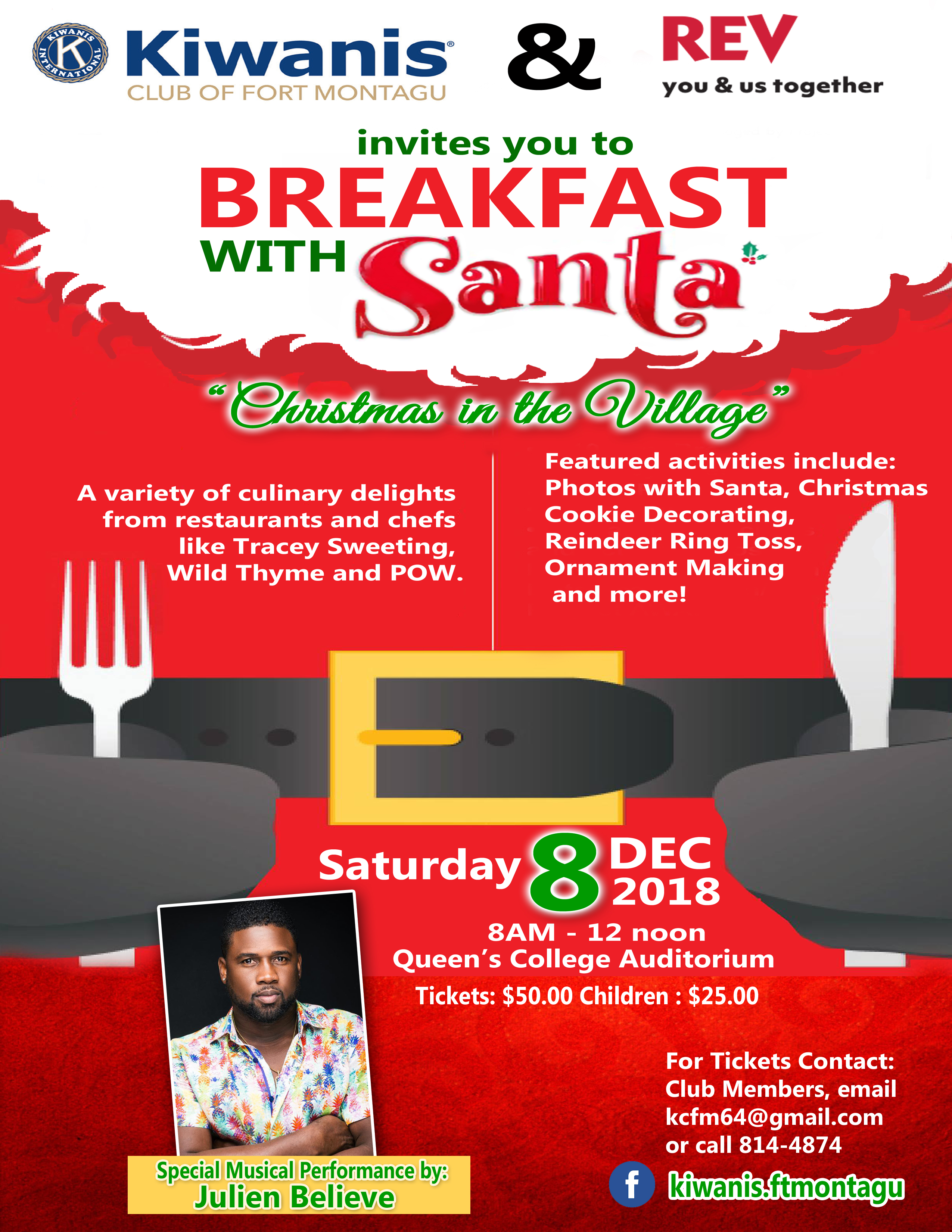 Breakfast With Santa Hosted by Kiwanis Club of Fort Montagu & Rev