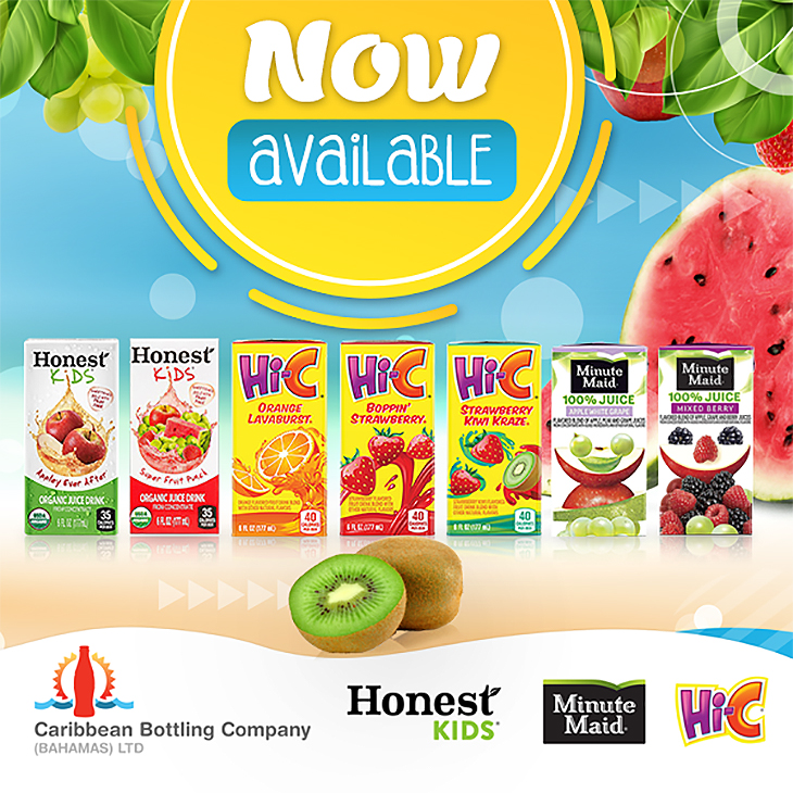 Now available at Caribbean Bottling Co.! Hi-C, Minute Maid and Honest Kids juice in a 6oz tetra box! Buy yours today!