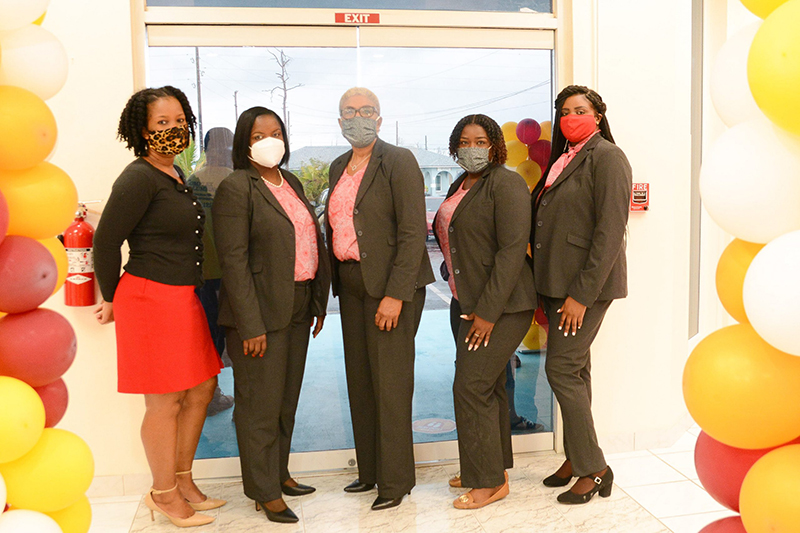 Many of the CIBC FirstCaribbean staff members from its original Abaco branch who were forced to relocate to Nassau following Dorian, have returned to Abaco and are eagerly serving their clients once again from the new location.  L-R: Karis Edgecombe Carey, Customer Service Officer; Juanyette Curry, Sales Specialist; Iris Henchell, Branch Manager;  Stacy Toote, Senior Customer Service Representative; Antonya Dawkins, Sales Support Officer