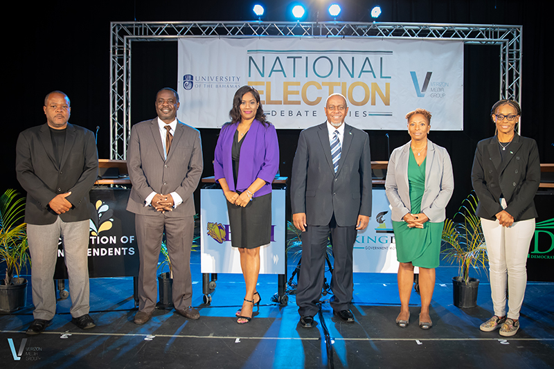 From left are participants in the recent COVID-19 and Climate Change debate held at the University of The Bahamas Oakes Field Campus: Dwayne Huyler, Bahamas Constitution Party; Lincoln Bain, Coalition of Independents; Shammine Lindsay, Bahamas Democratic Movement; Dr. Kevin King, Kingdom Government Movement; Dr. Carnille Farquharson, Democratic National Alliance; and Dr. Melissa Evans, Progressive Liberal Party. (Photo courtesy of KB Photography & Films).