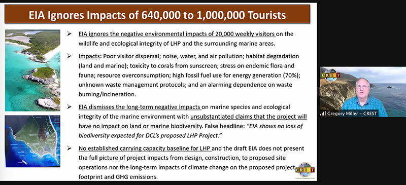 Supplied by Dr. Gregory Miller, the Executive Director of the Center for Responsible Travel or CREST, at the extended public consultation session hosted by the Stop Disney - Last Chance for Lighthouse Point Campaign on April 15 to discuss Disney's Environmental Impact Assessment.
