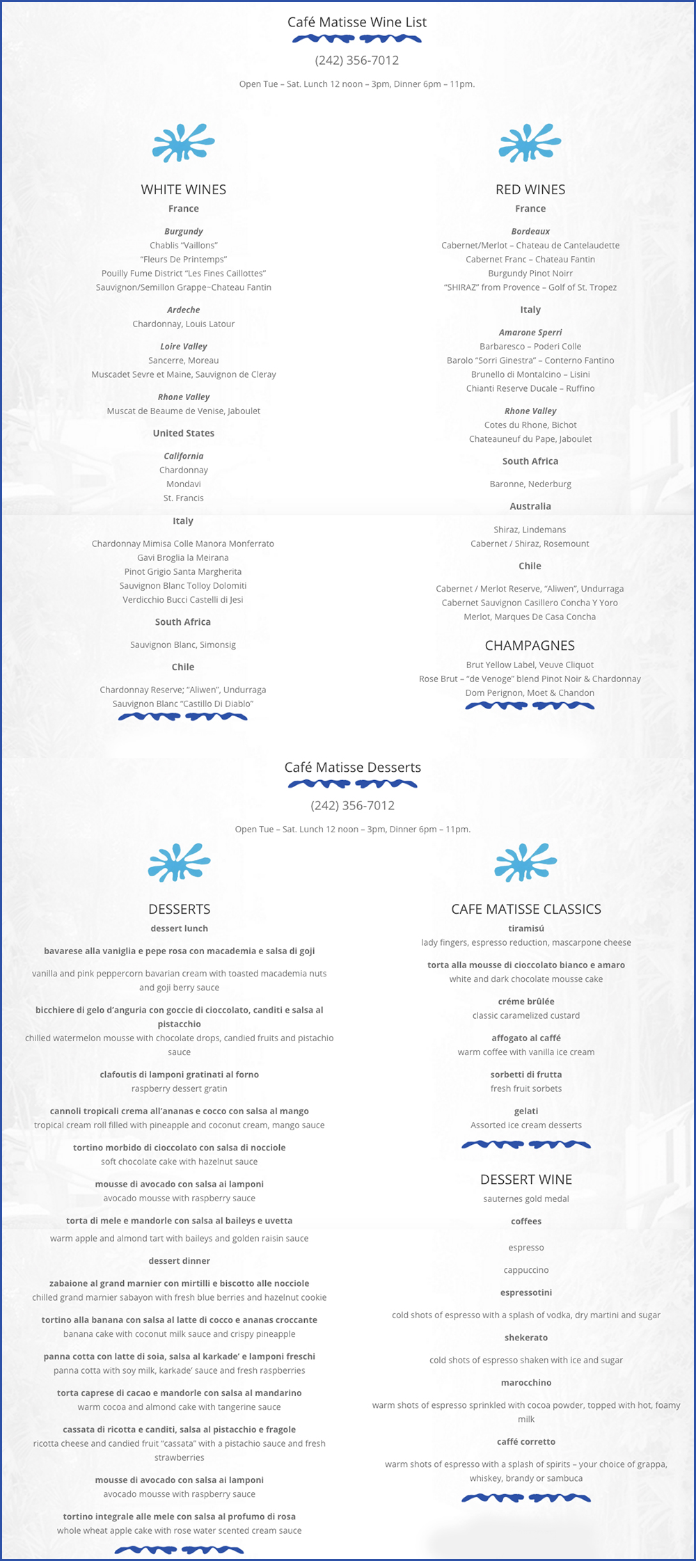 Cafe Matisse Restaurant Menu